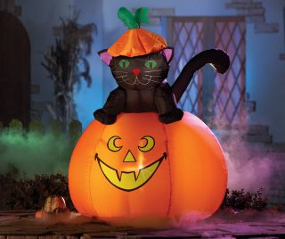 Casper Black Cat Pumpkin Halloween Lighted Outdoor Yard Lawn Inflatable New
