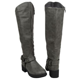 Low Heel Faux Leather Knee High Boots Gray Womens Shoes