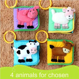 Infant Baby Kids Rattle Textured Animal Mini Plush Soft Cloth Book Toy