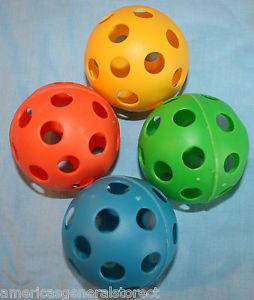 "Set 4 Wiffle Balls 2 75"" Plastic Orange Green Blue Yellow Pet Dog Cat Kids Toy"