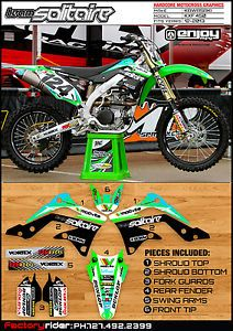 2012 2013 Kawasaki KXF 450 Team Solitaire Motocross Graphics Kit Blue