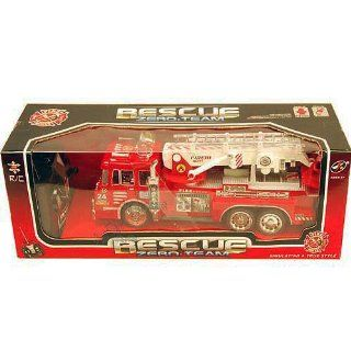 "10"" R C Rescue Fire Engine Truck Remote Control Kids Toy with Extending Ladder"