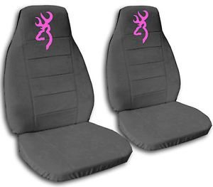 2 Cute Car Seat Covers Chevy Tahoe Velour Charcoal Gray with Pink Browning