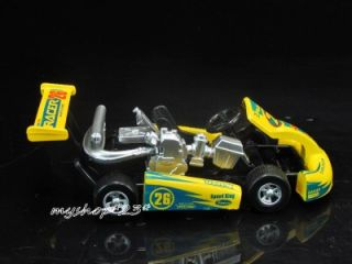 1 18 Speed King Racer Go Kart Cart Yellow Diecast Model Toy Car Gift Kids New