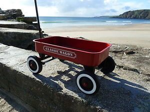 Pull Along Childrens Red Wagon Truck Toy Box Trailer 4 Wheel Cart Trolley Kids