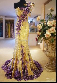 Newest Luxury One Shoulder Gold Sequins Lace Evening Party Gowns Prom Dresses