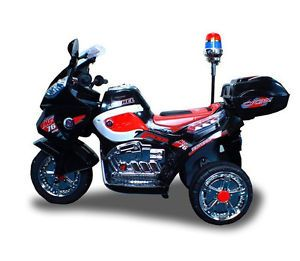 New 12V Battery Powered Kids Ride on Toy Police Motorcycle Chopper Car 3 Wheel