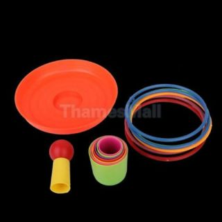 4X Set of Colorful Detachable Plastic Ring Toss Toy for Kids Educational Game