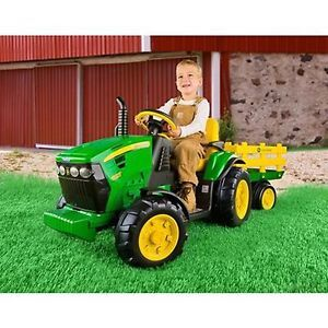 John Deere Kids Motorized Toy 12 Volt Ride on Peg Perego Tractor Radio Powered