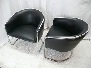 Thonet Cantilever Club Barrel Lounge Chairs Black Leather Chrome Modern Vintage
