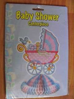 "1992 Beistle 10"" Art Tissue Carriage Centerpiece Baby Shower Decoration"