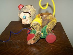 Vintage 1950's Fisher Price Wooden Pull Toy Monkey Baby Children'S