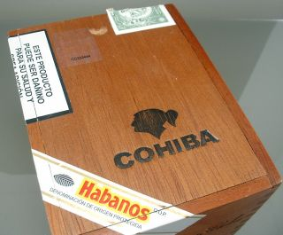 COHIBA 25 Empty Wooden Cigar Box with Sliding Top Stamps Labels