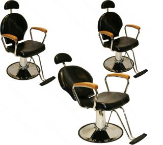 3 All Purpose Hydraulic Reclining Barber Chair Natural Oak Arms Salon Equipment