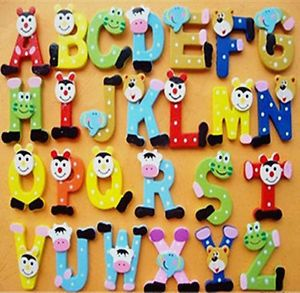26x Wooden Letter Alphabet Fridge Magnet Educational Toy Baby Kids Favour Gift