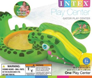 Intex Gator Adventure Play Center Kids Inflatable Pool w Sprayer 57132EP
