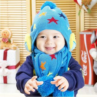 Baby Toddler Kids Girls and Boys Winter Knitted Crochet Owl Hat Caps Scarf Sets
