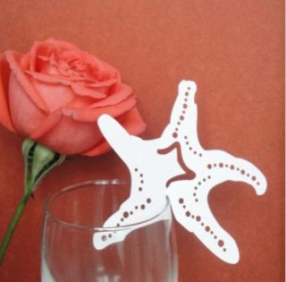 50x Wedding Favor Personalized Starfish Shaped for Beach Theme Name Place Cards