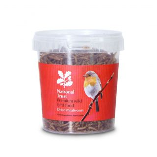 National Trust Premium Wild Bird Food Feed Dried Mealworm 100g Tub