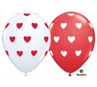 "5 Big Hearts Latex Balloons 11"" Balloon Valentine Wedding Shower Red White"