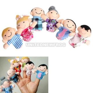 UN3F 6pcs Family Finger Puppets Cloth Doll Baby Educational Hand Toy Story Kid