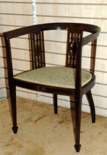 Victorian Art Nouveau Arm Tub Chair Arts Crafts Inlaid French Antique Gothic