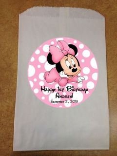 Set of 12 Personalized Baby Minnie Mouse Baby Shower Birthday Party Favor Bags