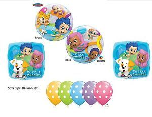 8PC Bubble Guppies Balloons Pastel Dot Latex Birthday Party Supplies Dlx