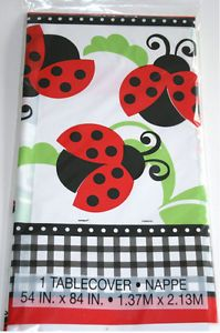 Ladybug Red 1st Birthday Baby Shower Plastic Tablecover Party Supplies