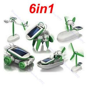6 in 1 Kids Science Solar DIY Educational Kit Set Puzzle Boat Fan Car Robot Toy