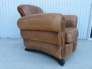 Fabulous Art Deco Leather Club Chair Ottoman Steampunk Chic Machine Age Modern