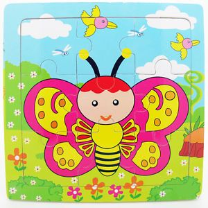 9pcs Wooden Butterfly Puzzle Educational Developmental Baby Kids Training Toy