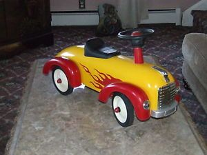 Kids Toddler Classic Yellow Red Flamed Race Car Ride on Push Along Toy