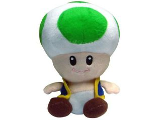 "New Super Mario Bros Mushroom Plush Doll Toy Toad 7"" Green Color for Kids' Gift"