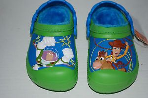 Crocs Toy Story Lined Clogs Woody Buzz 6 7 8 9 10 11 12 13 Green Kid Shoes