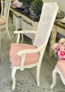 Shabby Cottage Chic French Style Cane Back Pink Linen White Dining Chairs 8 Set