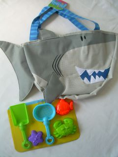 New Kids Boys Girls Beach Sand Toys Beach Bag Tote Playset Shark Dolphin Crab