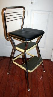 Vintage Yellow Cosco Kitchen Step Stool Retro Chair Seat Ladder