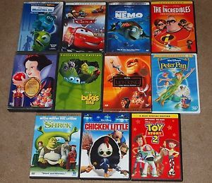 Lot of 11 Kids Family DVDs Disney Dreamworks Toy Story Cars Monsters Inc