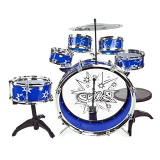 Kids Blue Drum Toys Boy Girl Music 11 PC Drum Set with Stool