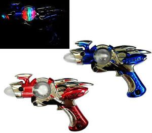 2 Light Up Outer Space Spin Gun B O Kids Pretend Toy Guns Alien Shooter Toys New