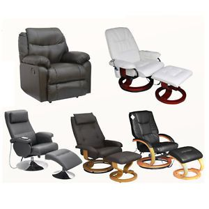 New Faux Leather Swivel Chair Footstool Massage Recliner Armchairs Stool