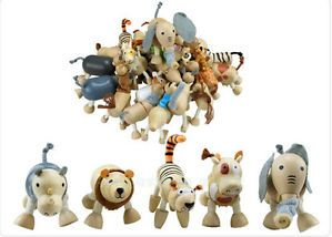 Kids Baby Toys Environmentally Friendly Wooden Organic Maple Jungle Animals 24x