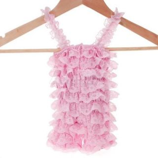 Gorgeous Baby Girl Pink Lace Posh Petti Ruffle Rompers Teddy Jumpsuit s M L