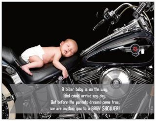 20 30 50 Motorcycle Biker Baby Custom Boy or Girl Baby Shower Invitations