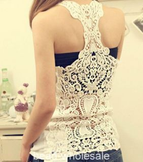 Sexy Lace Flower Tank Top Girl Women Cami Sleeveless Casual Cotton T Shirt