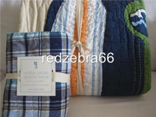 Pottery Barn Kids Boy's Blue North Shore Twin Quilt Euro Sham Set 2 PC New