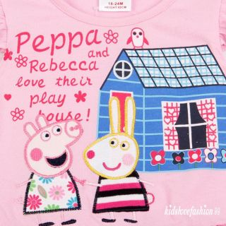 Baby Girl Toddler Peppa Pig Peppa Rebecca Embroidered Dress Tutu Top T Shirt