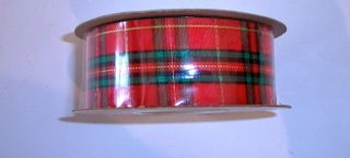 New C G Decorative Ribbon Plaid Red Green Gold 9 x 25yards Christmas Holiday