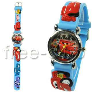 Disney Pixar Rusteze McQueen Car Kids Blue Wrist Watch